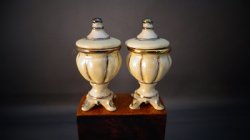 Pair of Ivory Luster Urn with Lid