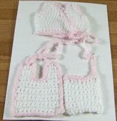 Crochet Baby Sweater, Bib, & Hat