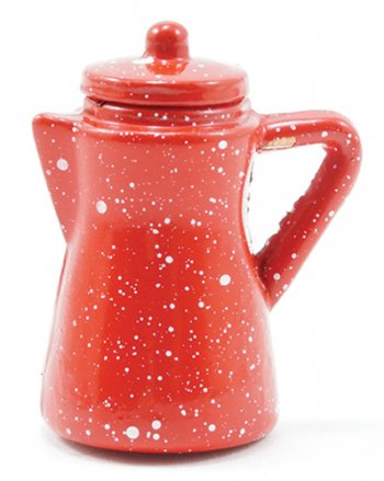 Spatterware Coffee Pot, Red
