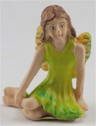 Fairy Sitting, Lime Green Dress