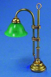 Brass Table Lamp with Green Shade