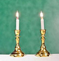 Candlesticks, Hexagon Base, Gold Finish