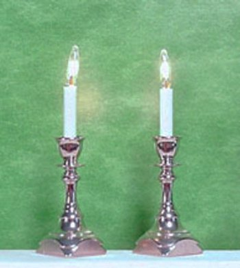 Candlesticks, Square Base, Silver Finish