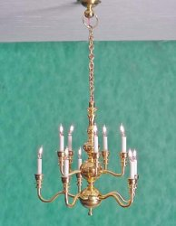 10 Arm Two Tiered Brass Chandelier