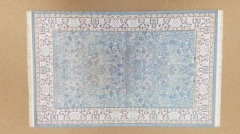 Rug, Rectangle w/ Fringe, Blue/Cream
