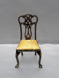 Carved Back Chair, Black/Gold