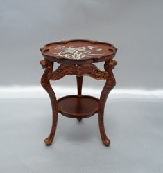 Dragonfly Carved Side Table, Walnut