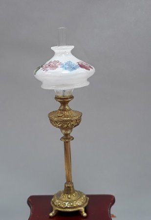 Tall Brass Base Lamp, Frosted Shade, Handpainted