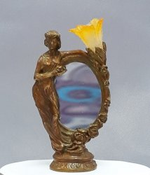 Bronze Oval Mirror Lady Lamp