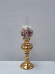Floral Brass Table Lamp, Floral Shade