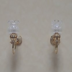 Flared Tulip Crystal Shade Sconces, Pair