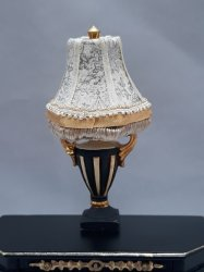 Urn Lamp w/ Custom Shade, Toile