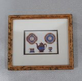 Framed Print, Blue Lusterware