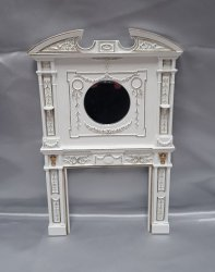 Art Nouveau Fireplace, White/Gold