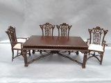Chinese Chippendale Dining Set, 5pc, WN
