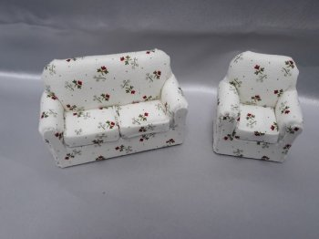 "1/2"" Sofa & Chair, Cream/Red Floral"