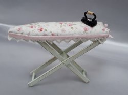Ironing Board with Iron, Green