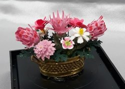 Assorted Pink Flowers / Gold Pot