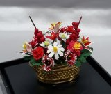 Red & White Floral Arrang./Gold Pot