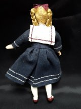 Bisque Girl Doll, Navy Dress
