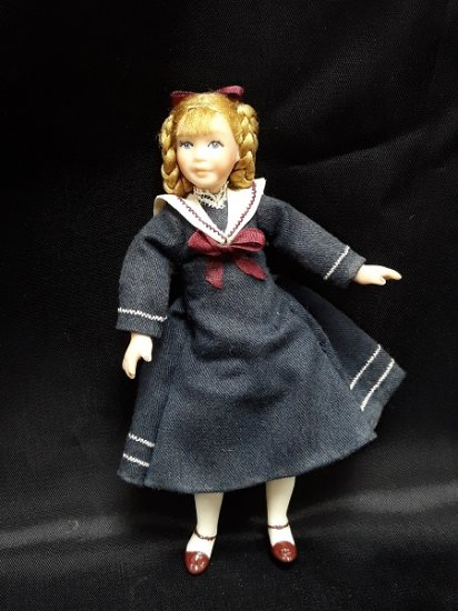 Bisque Girl Doll, Navy Dress - Click Image to Close