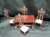 Carved Library Table & 4 Chairs, MH