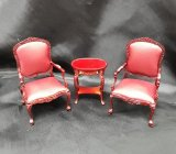 Portsmouth Chair & Table Set, Burgundy Leather,3pc