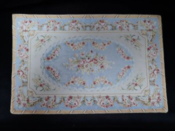 Rug, Large Floral, Blue/Cream/Pink