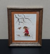 Framed Watercolor Painting/ Girl w/ Birds