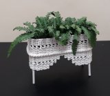 Plant Stand, White Wicker