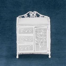 Baby Dressing Table, White Wicker Wire