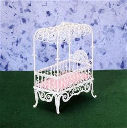 Baby Canopy Bed, White Wicker Wire