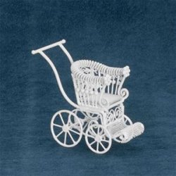 Baby Stroller, White Wicker Wire