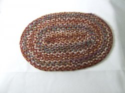 Braided Rug, Oval, Dark Browns & Blue