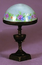 Bronze Lamp with Frosted Floral Shade