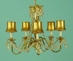 5 light Brass & Crystal Chandelier