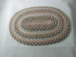Braided Rug, Oval, Browns & Pink
