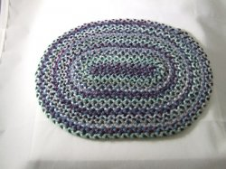 Braided Rug, Oval, Blue, Green, Purple