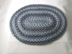 Braided Rug, Oval, Blues & Brown & White