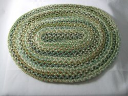 Braided Rug, Oval, Greens & Browns