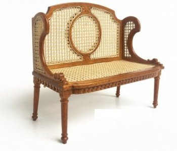 Louis XVI 2 Seater Hall Bench, Walnut
