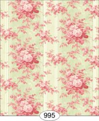 Floral Moire, Pink on Green Wallpaper