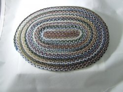 Braided Rug, Oval, Browns & Blues