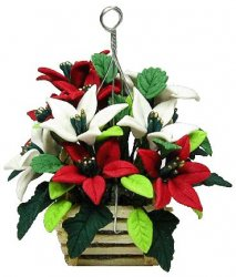 Red & White Poinsettias in Hanging Basket