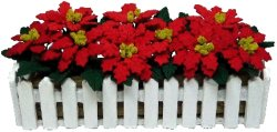 Red Poinsettias in Picket Fence Box