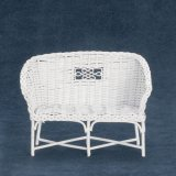 Rattan Couch, White Iron Wicker