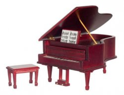 Grand Piano w/ Bench, Mahogany