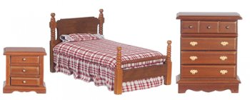 Bed Set, 3pcs, Walnut