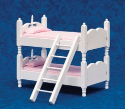 Bunkbeds w/ Ladder, Pink & White