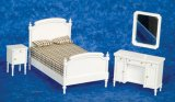Double Bedroom Set, White, 4pc